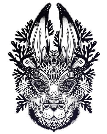 Folk magic jackalope beast. Ideal vintage folklore creature, tattoo art, boho design. 일러스트