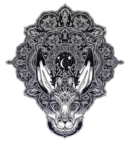 Folk magic jackalope beast with sacred geometry stars and moon ornament. 일러스트
