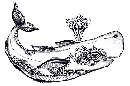 Highly detailed tribal wild sperm whale dangerous sea animal in geometric style bretahing out water fountain.