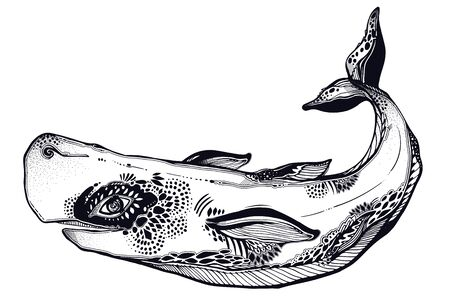 Highly detailed tribal wild sperm whale dangerous sea animal in geometric style. Ilustração