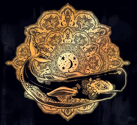 Highly detailed tribal wild sperm whale sea animal beast with sacred geometry stars and moon mandala ornament. 向量圖像