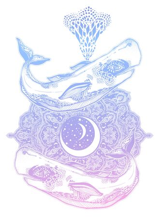 Highly detailed dreamy surreal sperm whale sea animal beast with sacred geometry stars and moon mandala ornament.