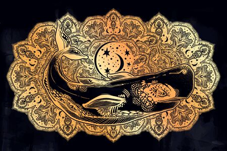 Highly detailed dreamy surreal wild sperm whale sea animal beast with sacred geometry stars and moon ornament.
