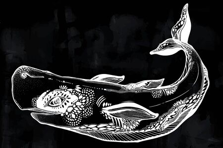Highly detailed tribal wild sperm whale dangerous sea animal in geometric style. Illustration