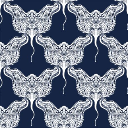 Seamless pattern of ornate tribal stingray sea fish in indigenous Polynesian style. Ilustração