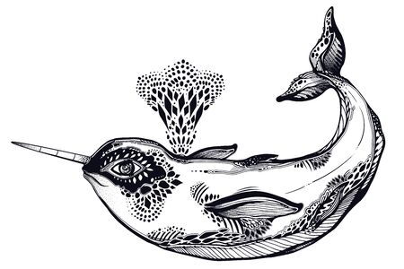 Highly detailed tribal wild narwhal whale sea animal in geometric style breathing our water fountain.