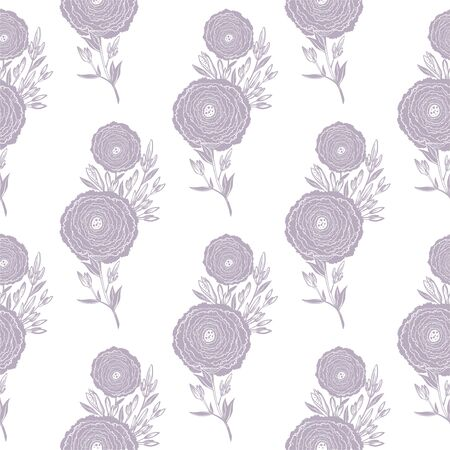 Naive flower with buds seamless pattern. Decorative summer background for fabric. Illustration