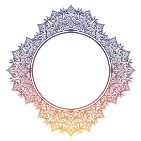 Decorative hand drawn detailed complex ornate circle frame.  イラスト・ベクター素材