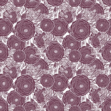 Naive flower with buds seamless pattern. Decorative summer background for fabric. Ilustração
