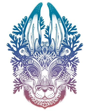 Folk magic jackalope beast. Ideal vintage folklore creature, tattoo art, boho design. 向量圖像