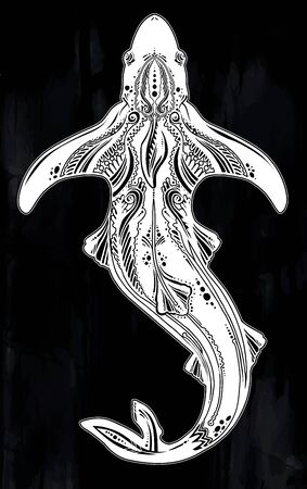 Ornate tribal shark sea fish in indigenous Polynesian style.