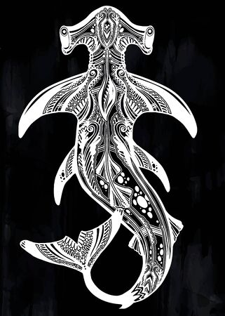 Highly detailed tribal wild Hammerhead shark dangerous sea fish in indigenous Polynesian style.