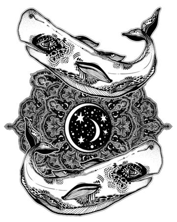 Highly detailed tribal wild sperm whale sea animal beast with sacred geometry stars and moon mandala ornament. Иллюстрация