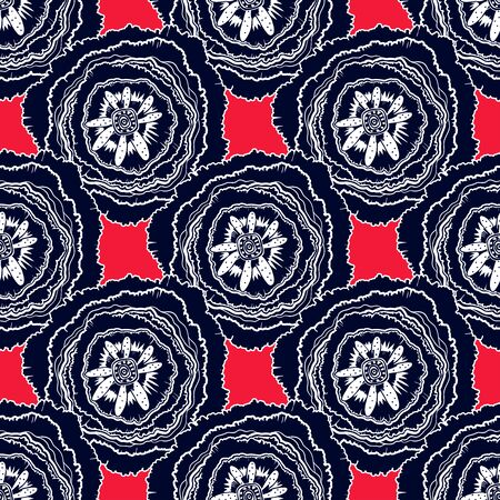 Naive rose flower seamless pattern. Decorative summer background for fabric. . Иллюстрация