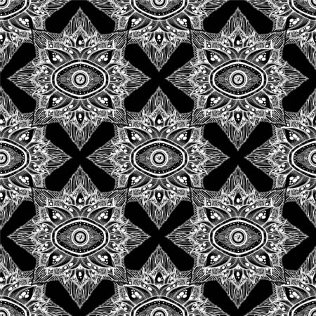 Decorative magic eye of providence in a flower seamless pattern.