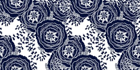 Naive rose flower seamless pattern. Decorative summer background for fabric. . 向量圖像