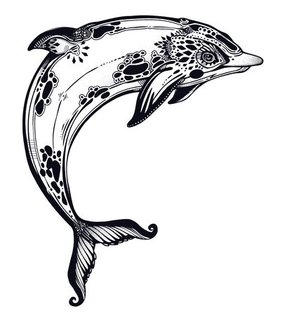 Decorative tribal swimming wild dolphin, fun sea animal in geometric style. Isolated vector illustration. Marine fauna predator ethnic tattoo design. Ocean dreams.