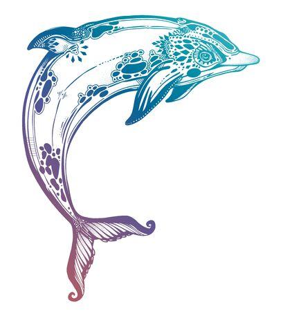 Decorative tribal swimming wild dolphin, fun sea animal in geometric style. Иллюстрация