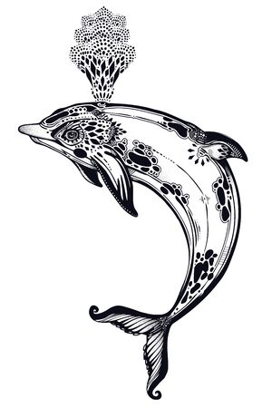 Decorative tribal swimming wild dolphin, fun sea animal in geometric style making water spout. Ilustração