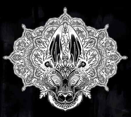 Folk magic jackalope beast with sacred geometry stars and moon ornament. Ilustracja