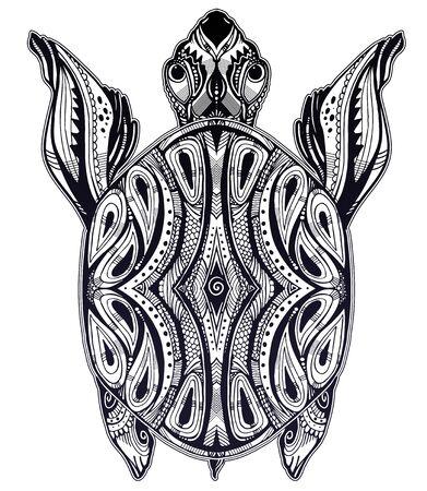 Ornate tribal sea turtle in indigenous Polynesian style. Isolated vector illustration. Maori tortoise reptile tattoo design. Иллюстрация