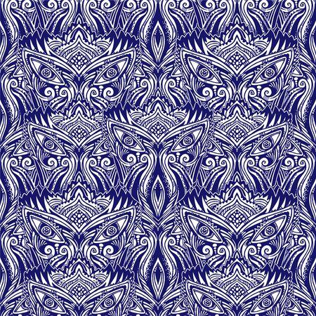 All-seeing folk sacred eye seamless pattern.