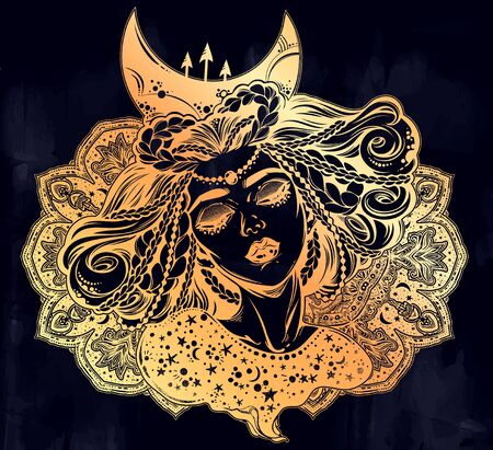 Magic moon princess of the night. Beautiful divine girl with crescent in her hair with sacred geometry ornament. Ilustracja