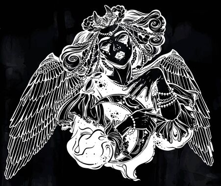 Beautiful pagan magic winged and horned goddess Lilith with crescent in her hands. Ilustracja