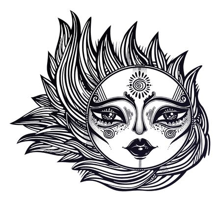 Bohemian tribal sun star with a human face in ornate rays as hair in the wind decoration, folk print. Ilustracja