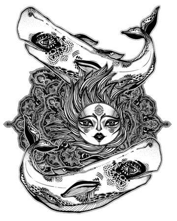 Decorative beautiful wild sperm whale sea beast holding the sun with sacred geometry stars and moon mandala ornament.