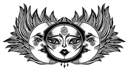 Magic symbolic sun eclipse with crecsent moon with human face in ornate rays as hair in the wind decoration, folk print. Ilustracja