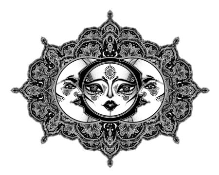 Tribal symbolic sun eclipse with crecsent moon with human face decoration, folk print in beautiful ornament. Ilustracja