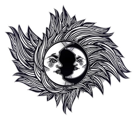 Bohemian crescent moon with a human face. Decoration, folk print. Ethnic tattoo art.