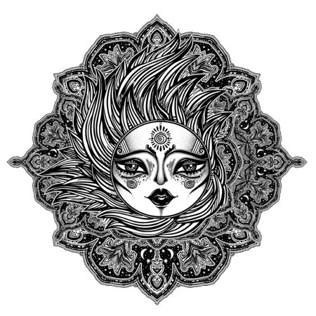 Decorative tribal sun star with a human face in ornate rays as hair in the wind decoration, folk print.