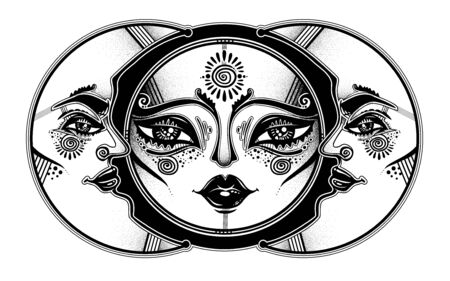 Tribal symbolic sun eclipse with crecsent moon with human face decoration, folk print.