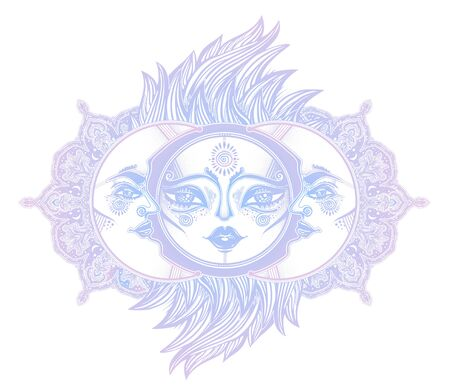 Mystic symbolic sun eclipse with crecsent moon with human face in ornate rays as hair in the wind decoration. Ilustracja