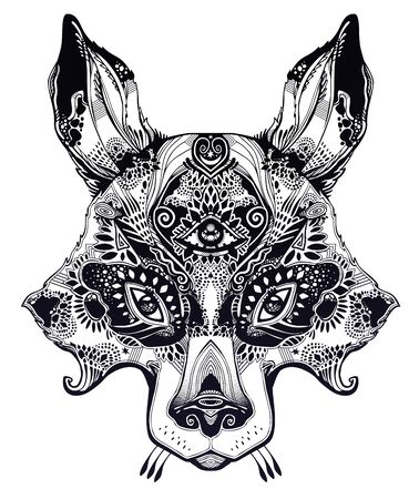 Pagan magic wolf or raccoon like Spirit of the woods horned beast with third eye. Wild forest nature creature, tattoo art, boho design. For print, posters, t-shirts,textiles. Vector illustration. Ilustração
