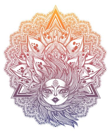 Decorative tribal sun star with a human face in ornate rays as hair decoration, folk print in triangle frame. Ilustracja