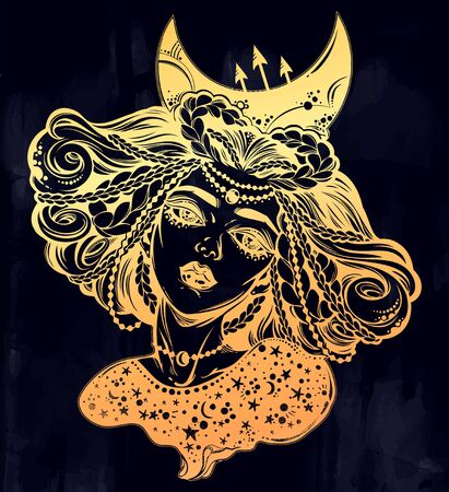 Magic moon princess of the night. Beautiful divine girl with crescent in her hair. Ilustracja