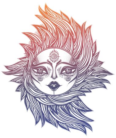 Bohemian tribal sun star with a human face in ornate rays as hair in the wind decoration, folk print. Ethnic tattoo art. Isolated vector illustration. Trendy T-shirt print. Spiritual alchemy symbol. Ilustracja