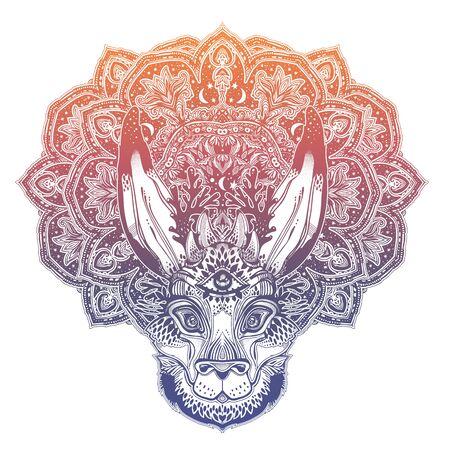 Folk magic jackalope beast with third eyewith sacred geometry stars and moon ornament.