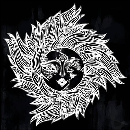 Bohemian tribal sun and crecsent moon a human face in ornate rays as hair in the wind decoration, folk print.