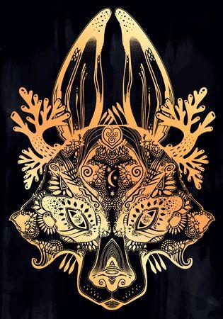 Folk magic highly detailed wolf or raccoon like Spirit of the woods horned beast. Ilustracja