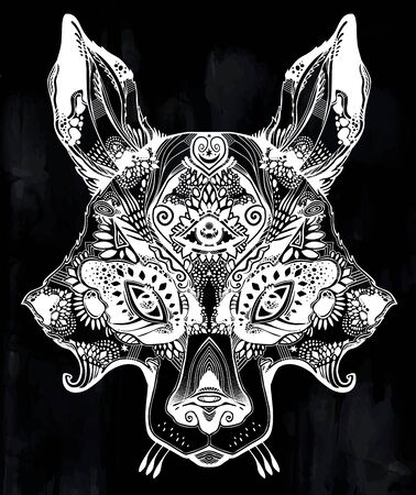Pagan magic wolf or raccoon like Spirit of the woods horned beast with third eye.