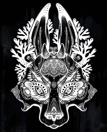 Folk magic jackalope beast. Ideal vintage folklore creature, tattoo art, boho design. Ilustracja