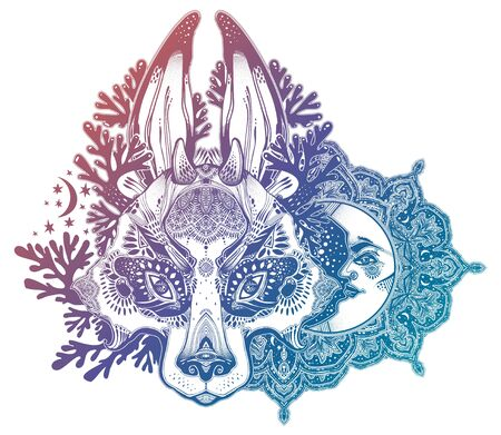 Folk magic jackalope beast decorative composition with crescent moon.