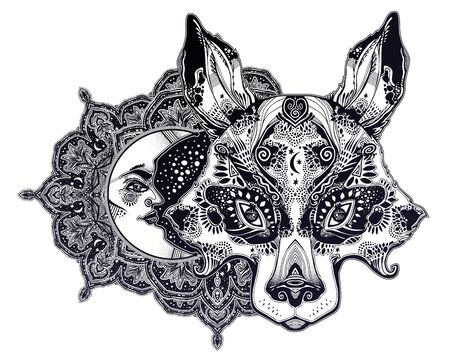 Folk magic decorative compositiono of wolf or raccoon dog beast with crescent moon