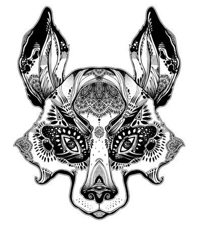 Folk magic highly detailed bear cub or raccoon dog beast. Ilustracja