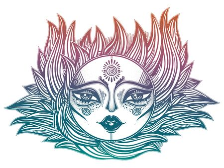 Bohemian tribal sun star with a human face in ornate rays as hair in the wind decoration, folk print. Çizim