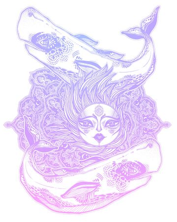 Decorative beautiful wild sperm whale sea beast holding the sun with sacred geometry stars and moon mandala ornament.